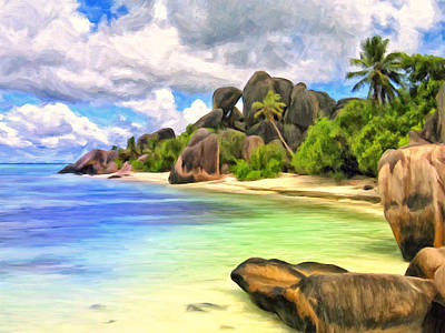 Zanzibar Painting - Secluded Beach On La Digue by Dominic Piperata