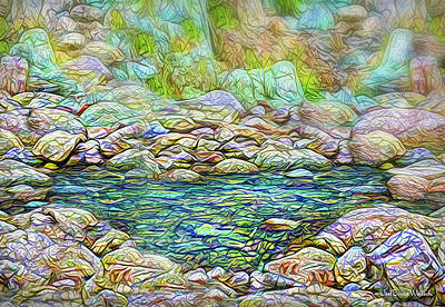 Digital Art - Secluded Stone Pool by Joel Bruce Wallach