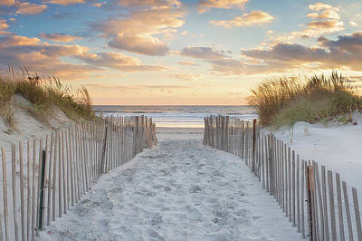 Sand Fences Photograph - Second Beach Sunset by Katherine Gendreau