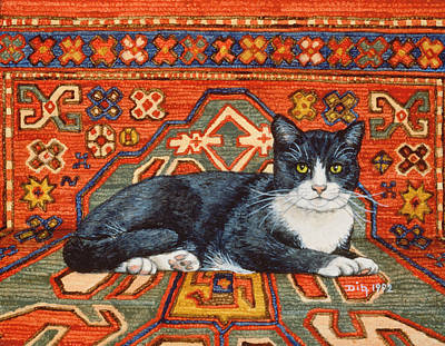 Persian Carpet Painting - Second Carpet Cat Patch by Ditz
