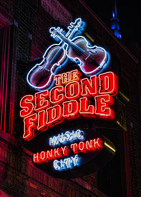 Nashville Sign Photograph - Second Fiddle by Stephen Stookey