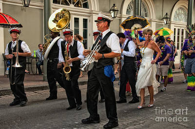 Vintage Buick Rights Managed Images - Second Line Wedding on Bourbon Street New Orleans Royalty-Free Image by Kathleen K Parker