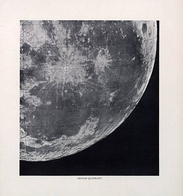 Drawing - Second Quadrant - Surface Of The Moon - Lunar Surface - Selenographia - Celestial Chart by Studio Grafiikka