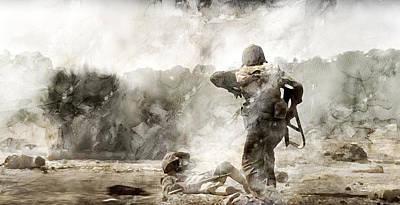 Infantryman Painting - Second World War 357 by Jani Heinonen
