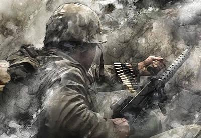 Infantryman Painting - Second World War 400 by Jani Heinonen