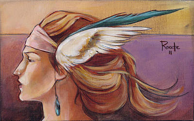 Women Faces Painting - Secondary Wings Left by Jacque Hudson