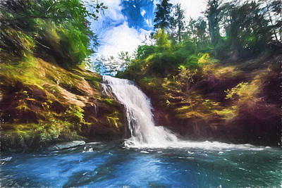 Digital Art - Secret Falls by John Haldane