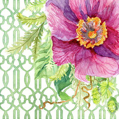 Painting - Secret Garden 1 - Single Peony Fern Hops And Trellis by Audrey Jeanne Roberts
