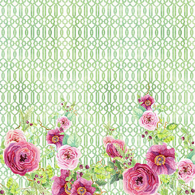 Painting - Secret Garden 2 - Peony N Rose Fern Hops, Berries And Trellis by Audrey Jeanne Roberts