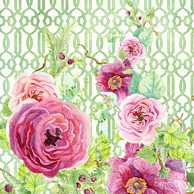 Painting - Secret Garden 2 - Single Peony Fern Hops And Trellis by Audrey Jeanne Roberts