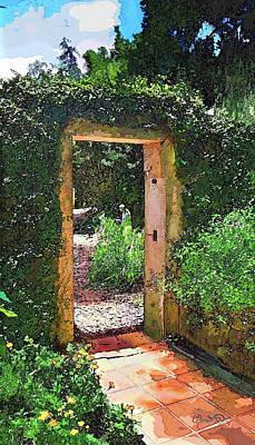 Photograph - Secret Garden Entrance In Watercolor by Susan Molnar