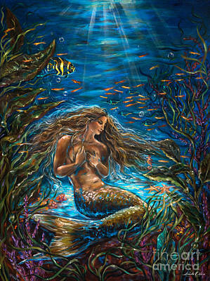 Angel Mermaids Ocean Painting - Secret Garden In The Sea by Linda Olsen