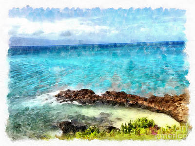 Ocean Watercolors Digital Art - Secret Hideaway by Krissy Katsimbras