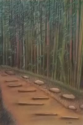 Japanese Tea Garden Painting - Secret Japanese Tea Garden by Junko Schettino