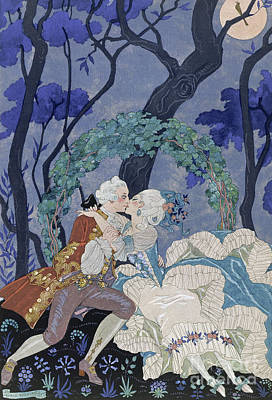 Embrace Painting - Secret Kiss by Georges Barbier