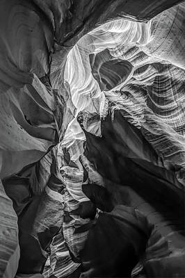 Photograph - Secret Layer - Black And White - Antelope Canyon by Gregory Ballos