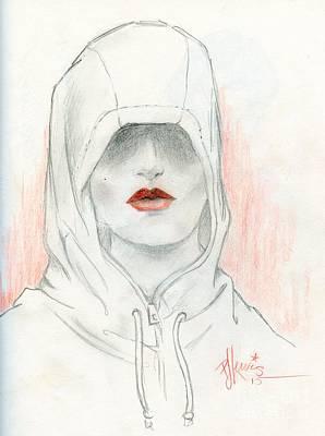 Red Lips Drawing - Secret Lies by PJ Lewis