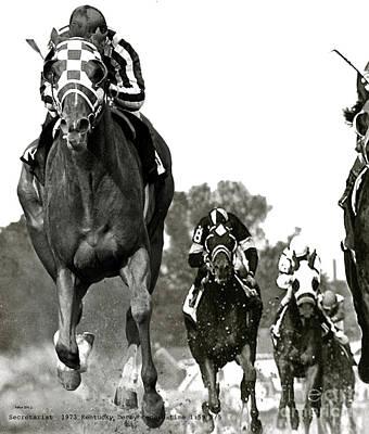Key West Mixed Media - Secretariat, 1973 Kentucky Derby, Record Time Of 1 59 2 5ths by Thomas Pollart