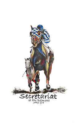Horse Mural Painting - Secretariat At The Belmont Mural by Amanda  Sanford
