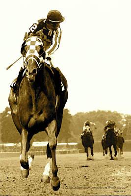 Kentucky Horse Park Mixed Media -  Secretariat Looking Back Belmont Stakes 1973 by Thomas Pollart