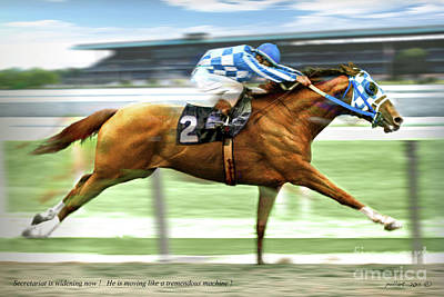 Gibson Mixed Media - Secretariat On The Back Stretch At The Belmont Stakes by Thomas Pollart
