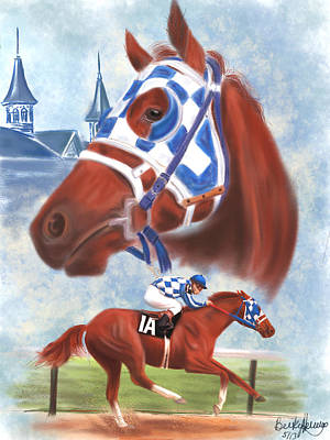 Colored Pencil Portrait Drawing - Secretariat Racehorse Portrait by Becky Herrera