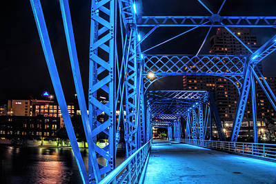 Photograph - Section Of The The Blue Walking Bridge At Night by Randall Nyhof