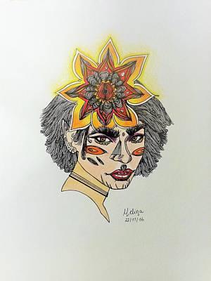 Visionary Art Drawing - Secure Feminine  by Melina Digiacomantonio