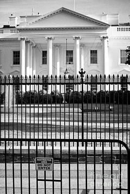 Whitehouse Wall Art - Photograph - Security Fence And Restricted Area Signs Outside The North Facade From Pennsylvania Avenue The White by Joe Fox