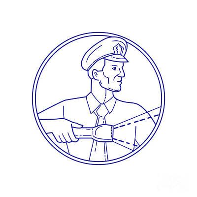 Security Guard Flashlight Circle Mono Line Print by Aloysius Patrimonio