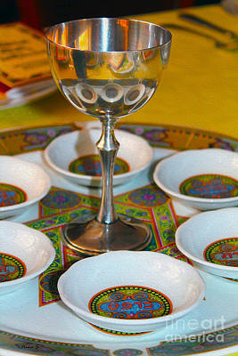 Photograph - Sedar Plate Reflections In A Kiddush Cup by Nina Silver