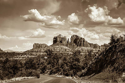 Photograph - Sedona Arizona Sepia Landscape - Cathedral Rock  by Gregory Ballos