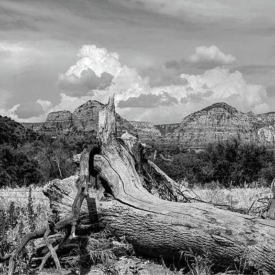 Photograph - Sedona Arizona Western Landscape 1x1 Black And White by Gregory Ballos
