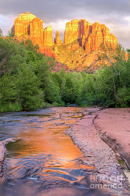 Sedona Cathedral Rock And Oak Creek Sunset Art Print by Colin D Young