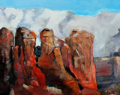 Painting - Sedona Coffee Pot Rock Painting by Michele Carter