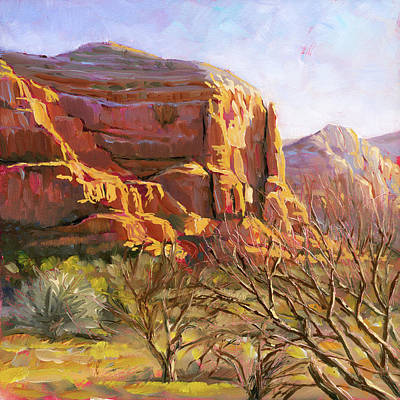 Art Print featuring the painting Sedona Morning by Lesley Spanos