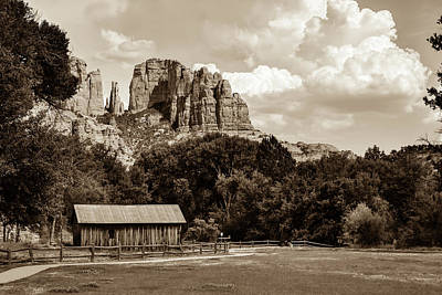 Photograph - Sedona Mountain Landscape - Sepia Edition by Gregory Ballos