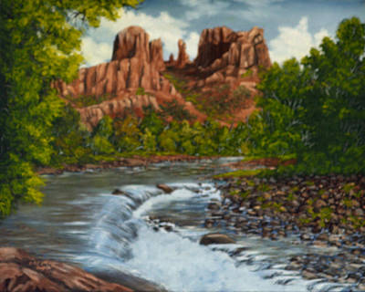 River Painting - Sedona by Vincent Keele