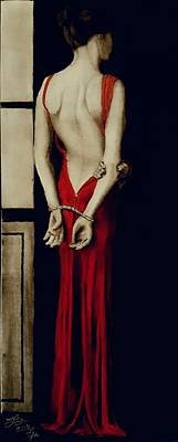 Red Gown Drawing - Seduced By The Evening Into Submission by Tim Brandt