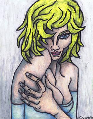 Oil Pastel On Paper Painting - Seductive Smile by Kamil Swiatek