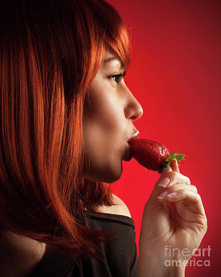 Photograph - Seductive Woman Eating Strawberry by Anna Om