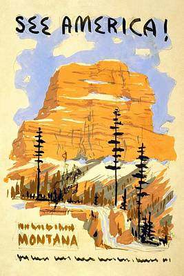Royalty-Free and Rights-Managed Images - See America - Buttes in Montana - Retro travel Poster - Vintage Poster by Studio Grafiikka