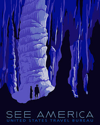 Cavern Digital Art - See America - Carlsbad Caverns by Finlay McNevin