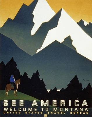 See America Welcome To Montana Art Print by M Weitzman