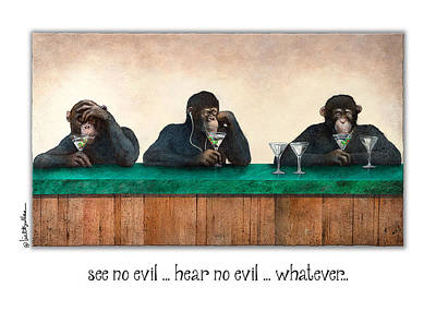 Ape Painting - See No Evil_hear No Evil_nevermind... by Will Bullas