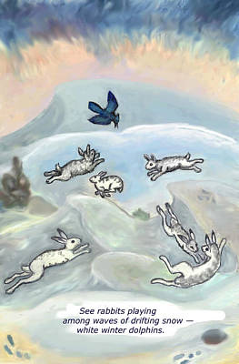Drawing - See Rabbits Playing Haiku And Illustration by Dawn Senior-Trask