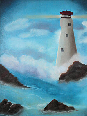 Turbulence Painting - See The Light...lighthouse by Sandra Sue Parsons