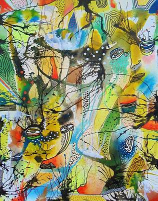 Primitive Raw Art Painting - See Through The Confusion by Bea Roberts
