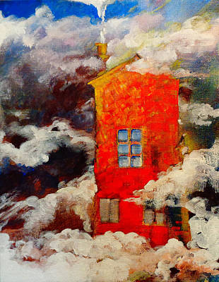 Wall Art - Painting - See You There At The Cloud Manor by Larissa Pirogovski