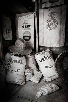 Photograph - Seed Bags At The Farm by Debra and Dave Vanderlaan